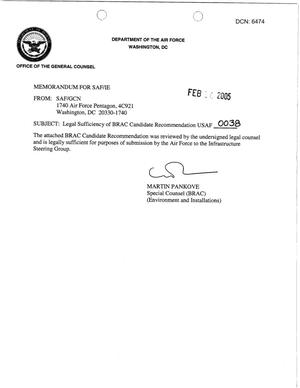 Primary view of object titled 'Candidate Recommendation - USAF -0038 - Attachment to March 10 Infrastructure Executive Council Meeting'.