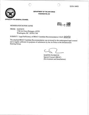 Primary view of object titled 'Candidate Recommendation - USAF -0052 - Attachment to March 10 Infrastructure Executive Council Meeting'.