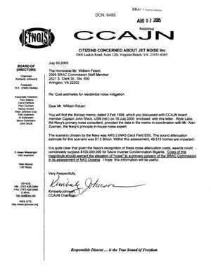 Primary view of object titled 'Letter from Kimberly Johnson of the CCAJN to Mr. William Fetzer dtd 30 July 2005'.