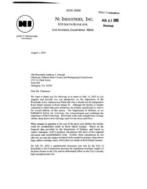 Primary view of object titled 'Letter from John G. Maniatakis to Chairman Principi dtd 01 August 2005'.