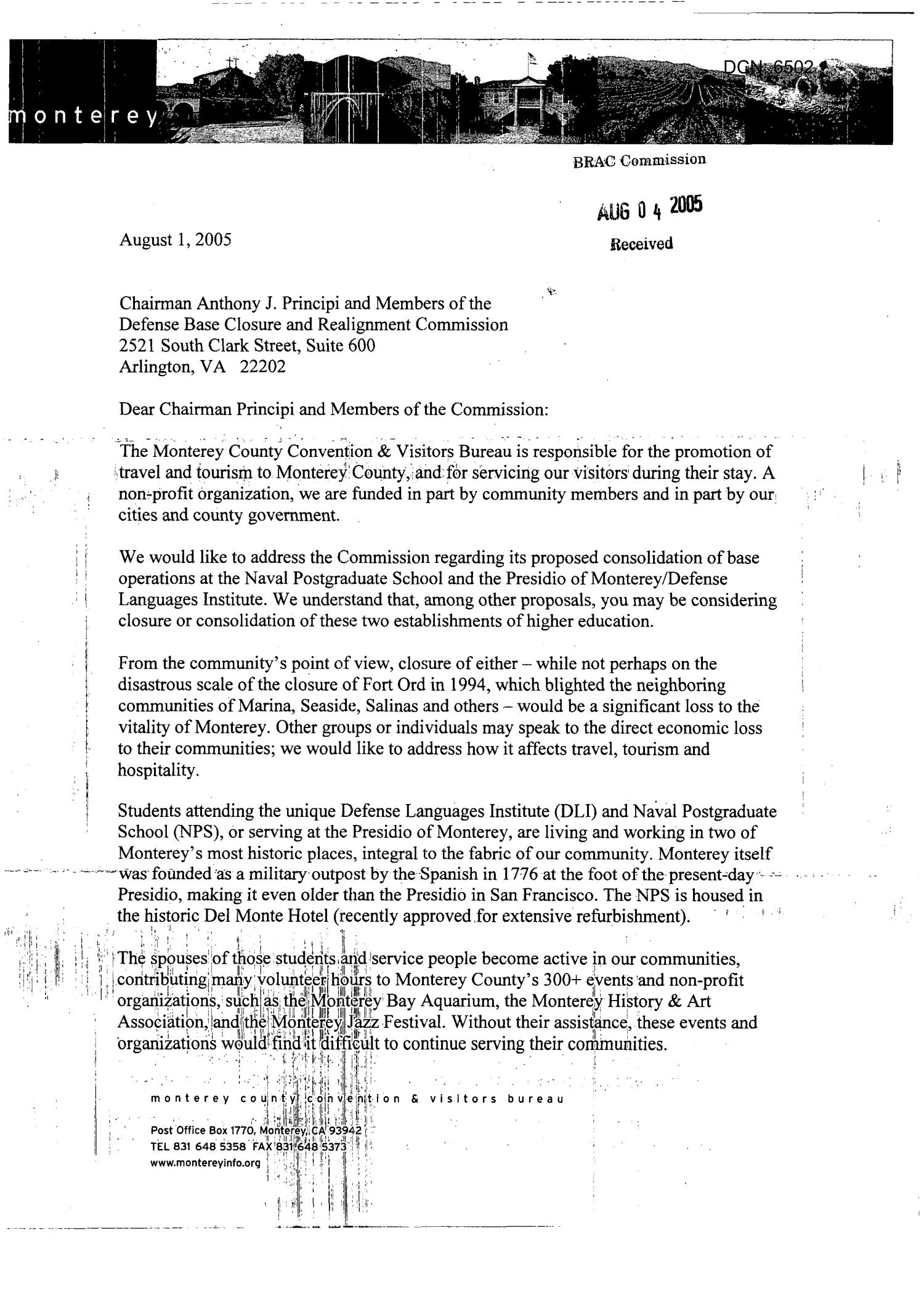 Executive Correspondence - From Michael Zimmerman,  To Chairman Principi                                                                                                      [Sequence #]: 1 of 2