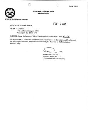 Primary view of object titled 'Candidate Recommendation - USAF -0054 - Attachment to March 10 Infrastructure Executive Council Meeting'.