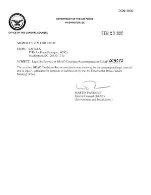 Primary view of object titled 'Candidate Recommendation - USAF -0080 - Attachment to March 10 Infrastructure Executive Council Meeting'.