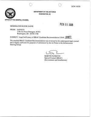 Primary view of object titled 'Candidate Recommendation - USAF -0087 - Attachment to March 10 Infrastructure Executive Council Meeting -'.