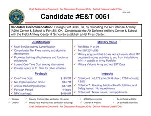 Primary view of object titled 'Candidate Recommendation - E&T 0061 - Attachment to March 21 Infrastructure Executive Council Meeting'.