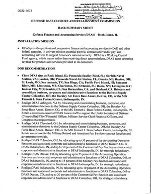 Primary view of object titled 'DA - Base Summary Sheet - Defense Agencies - Defense Finance and Accoutning Rock Island - IL'.