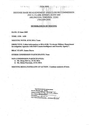 Primary view of object titled 'Memorandum of Meeting 23 June 2005'.