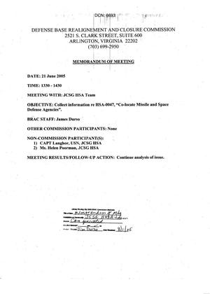 Primary view of object titled 'Memorandum of Meeting 21 June 2005'.