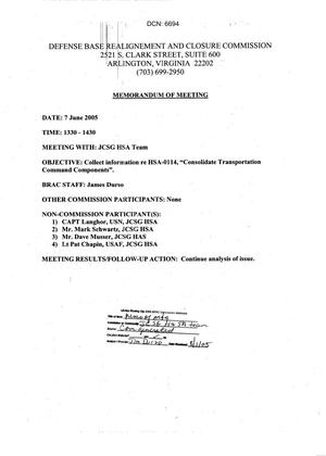 Primary view of object titled '[Memorandum of Meeting: Joint Cross-Service Group HSA Team, June 7, 2005]'.