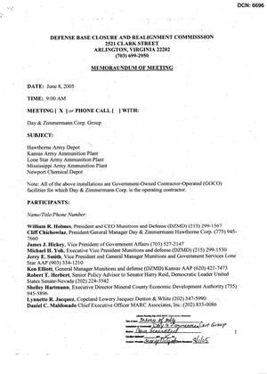 Primary view of object titled '[Memorandum of Meeting: Day & Zimmermann Corp. Group, June 8, 2005]'.