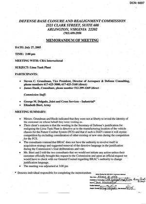 Primary view of object titled 'A - Memorandum of Meeting 7-27-05 Army - CRA International - Lima Tank Plant'.