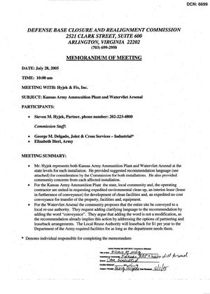 Primary view of object titled '[Memorandum of Meeting: Kansas Army Ammunition Plant and Watervliet Arsenal, July 28, 2005]'.