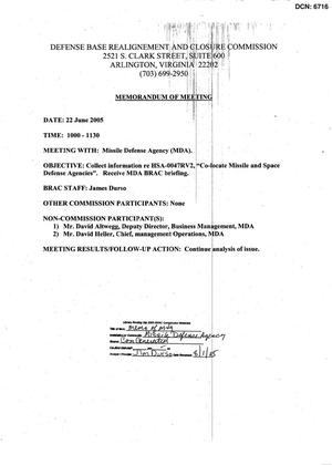Primary view of object titled '[Memorandum of Meeting: Missile Defense Agency, June 22, 2005]'.