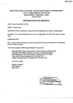 Primary view of object titled '[Memorandum of Meeting: Defense Finance and Accounting Service, Indiana, July 13 & 15, 2005]'.