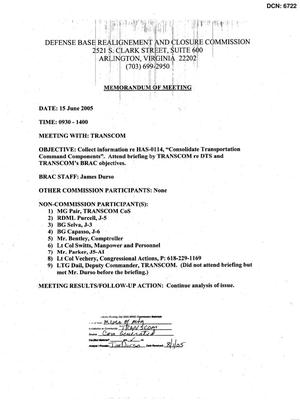 Primary view of object titled '[Memorandum of Meeting: United States Transportation Command, June 15, 2005]'.