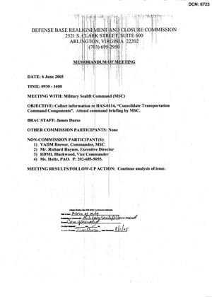 Primary view of object titled '[Memorandum of Meeting: Military Sealift Command, June 6, 2005]'.