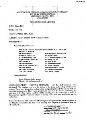 Primary view of object titled '[Memorandum of Meeting: H&SA Joint Cross-Service Group, June 2, 2005]'.