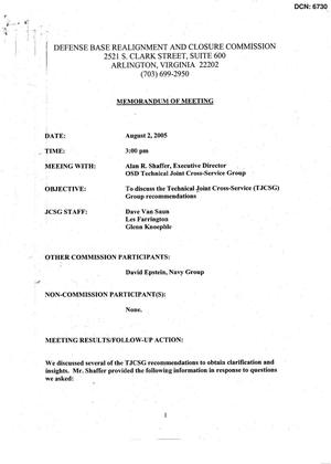 Primary view of object titled '[Memorandum of Meeting: Technical Joint Cross-Service Group, August 2, 2005]'.