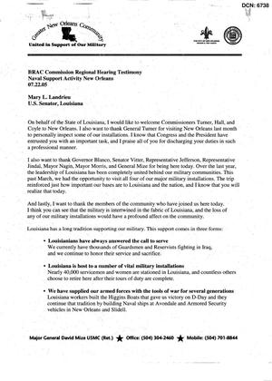 Primary view of object titled 'RH15 - Statements and Testimony - Regional Hearing - july 22, 2005 - new orleans - LA'.