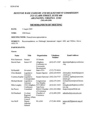 Primary view of object titled '[Memorandum of Meeting: Pittsburgh International Airport Air Reserve Station & Willow Grove Air Guard Station, Pennsylvania, July 22, 2005]'.
