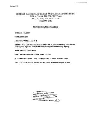 Primary view of object titled '[Memorandum of Meeting: Army G-2, July 28, 2005]'.