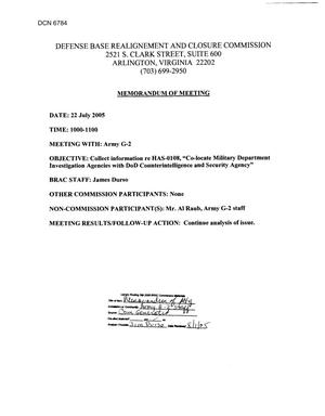 Primary view of object titled '[Memorandum of Meeting: Army G-2, July 22, 2005]'.