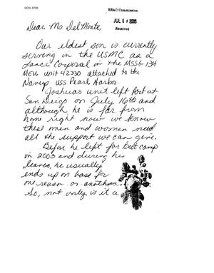 Primary view of object titled 'Letters From Individual Citizens of Niagara Falls Air Force Base'.