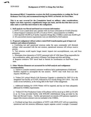 Primary view of object titled '[Memorandum of Meeting: Naval Ordnance Test Unit, Florida, August, 2005]'.