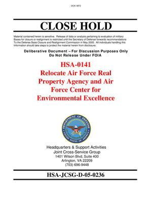 Primary view of object titled 'Relocate Air Force Real Property Agency and Air Force Center for Environmental Excellence'.