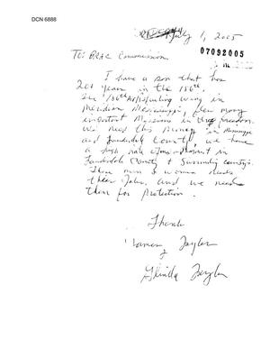 Primary view of object titled 'Community Correspondence  -  Individual Letter regarding 186th Air Refueling Wing'.