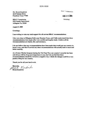 Primary view of object titled 'Letter from a concerned citizen asking for support in removing Ellington Field from the 2005 BRAC closure list'.