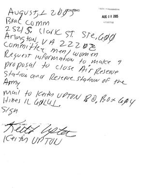 Primary view of object titled 'Letter from a concerned citizen asking for support in removing Air Reserve Station from the 2005 BRAC closure list'.