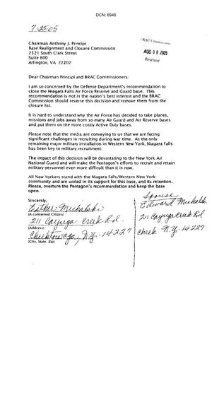 Primary view of object titled 'Letters from concerned citizens asking for support in removing Niagara Falls Air Force Reserve and Guard Base from the 2005 BRAC closure list'.