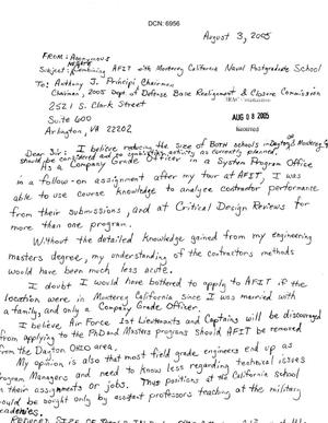 Primary view of object titled 'Letters from concerned citizens asking for support in removing Naval Postgraduate School from the 2005 BRAC closure list'.