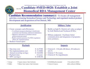 Primary view of object titled 'Candidate Recommendation #MED-0028 Establish a Joint Biomedical RDA Management Center'.
