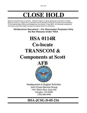 Primary view of object titled 'Candidate Recommendation HSA 0114R Co-locate TRANSCOM & Components at Scott AFB'.