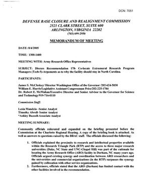 Primary view of object titled '[Memorandum of Meeting: Army Research Office Durham, North Carolina, August 4, 2005]'.