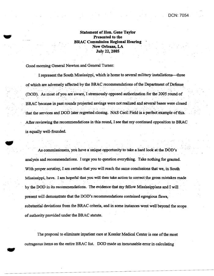 Memorandum of Meeting: Keesler Air Force Base, Mississippi