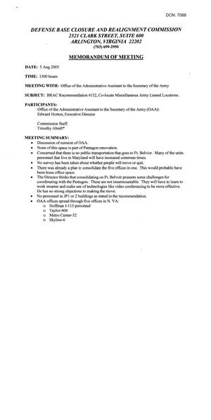 Primary view of object titled 'Memorandum of Meeting – 8/5/05 – BRAC Recommendation #132(Army Leased Space)'.