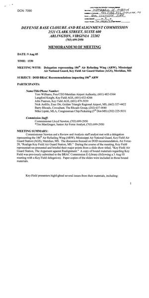 Primary view of object titled 'Memorandum of Meeting – 8/9/2005 – DOD BRAC Recommendations impacting 186th ARW'.