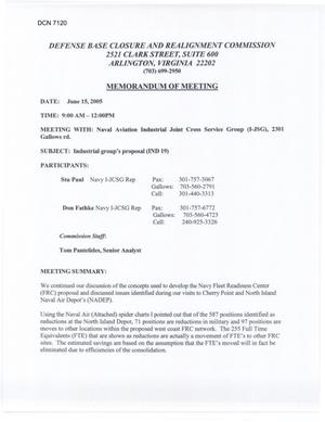 Primary view of object titled 'Memorandum of Meeting: Naval Aviation Industrial Joint Cross Service Group (15Jun05)'.