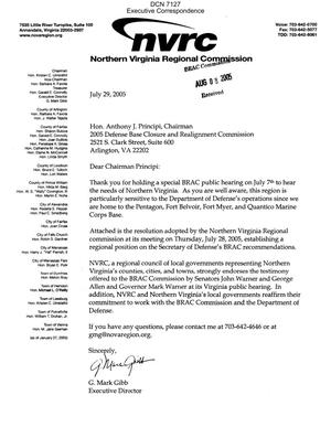 Primary view of object titled 'Executive Correspondence – Letter dtd 07/29/05 to Chairman Principi from G. Mark Gibb, Executive Director of the Northern Virginia Regional Commission'.