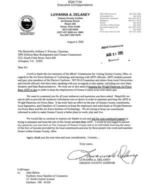 Primary view of object titled 'Executive Correspondence – Letter dtd 08/04/05 to Chairman Principi from Greene County Ohio Auditor Luwanna Delaney'.
