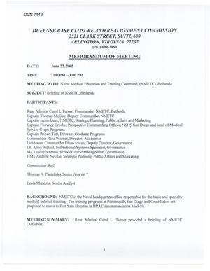 Primary view of object titled '[Memorandum of Meeting: Naval Medical Education and Training Command, Maryland, June 22, 2005]'.