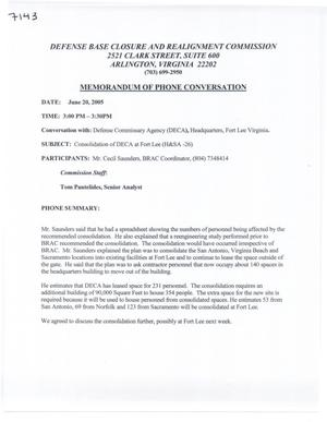 Primary view of object titled '[Memorandum of Meeting: Defense Commissary Agency, Virginia, June 20, 2005]'.