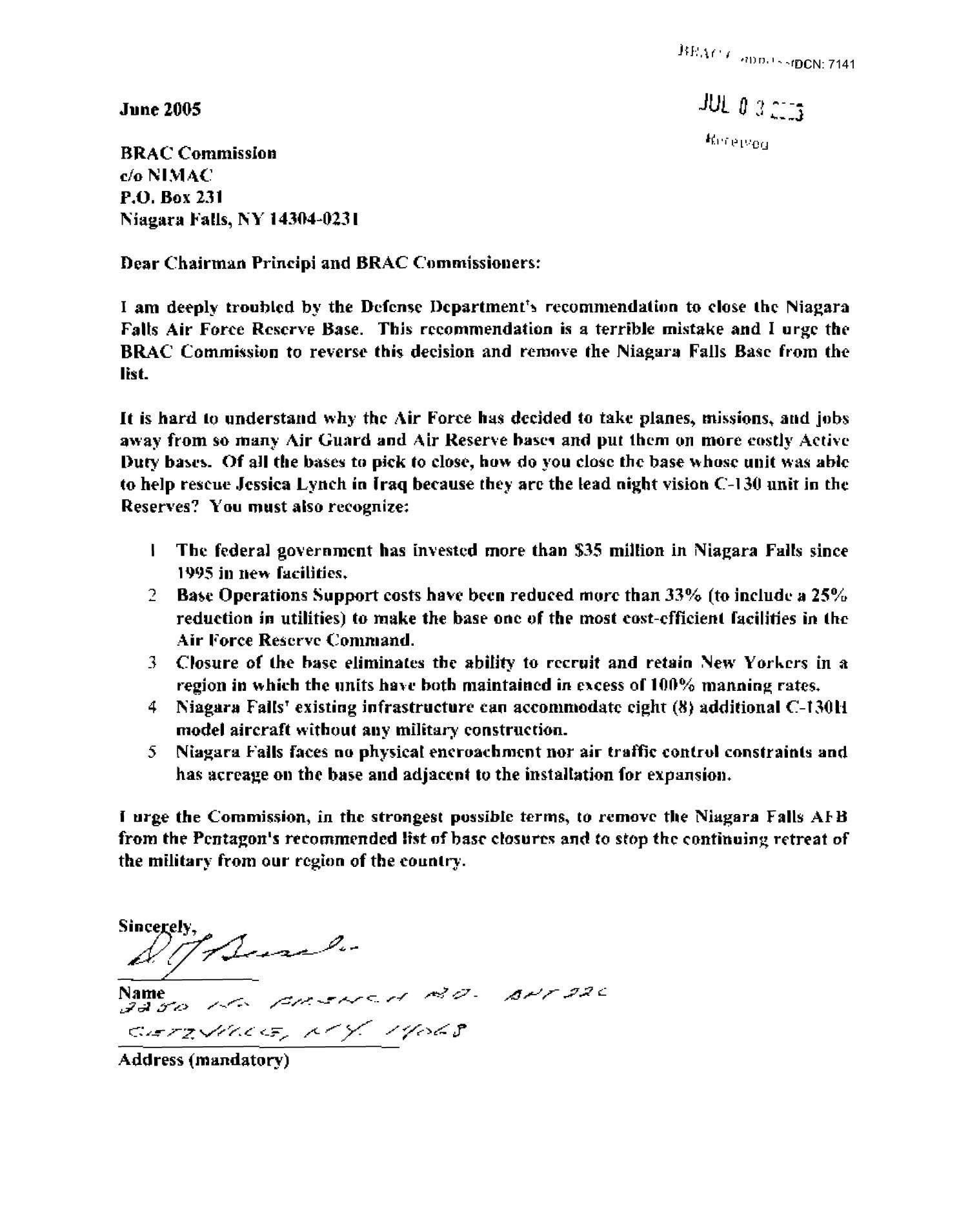 Letters from Residents Concerning Niagra Falls ANG                                                                                                      [Sequence #]: 2 of 518
