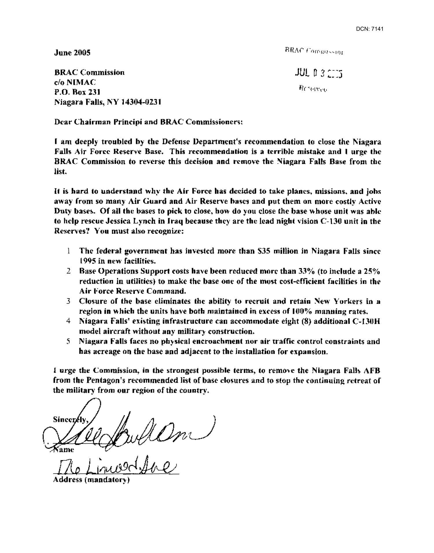 Letters from Residents Concerning Niagra Falls ANG                                                                                                      [Sequence #]: 3 of 518
