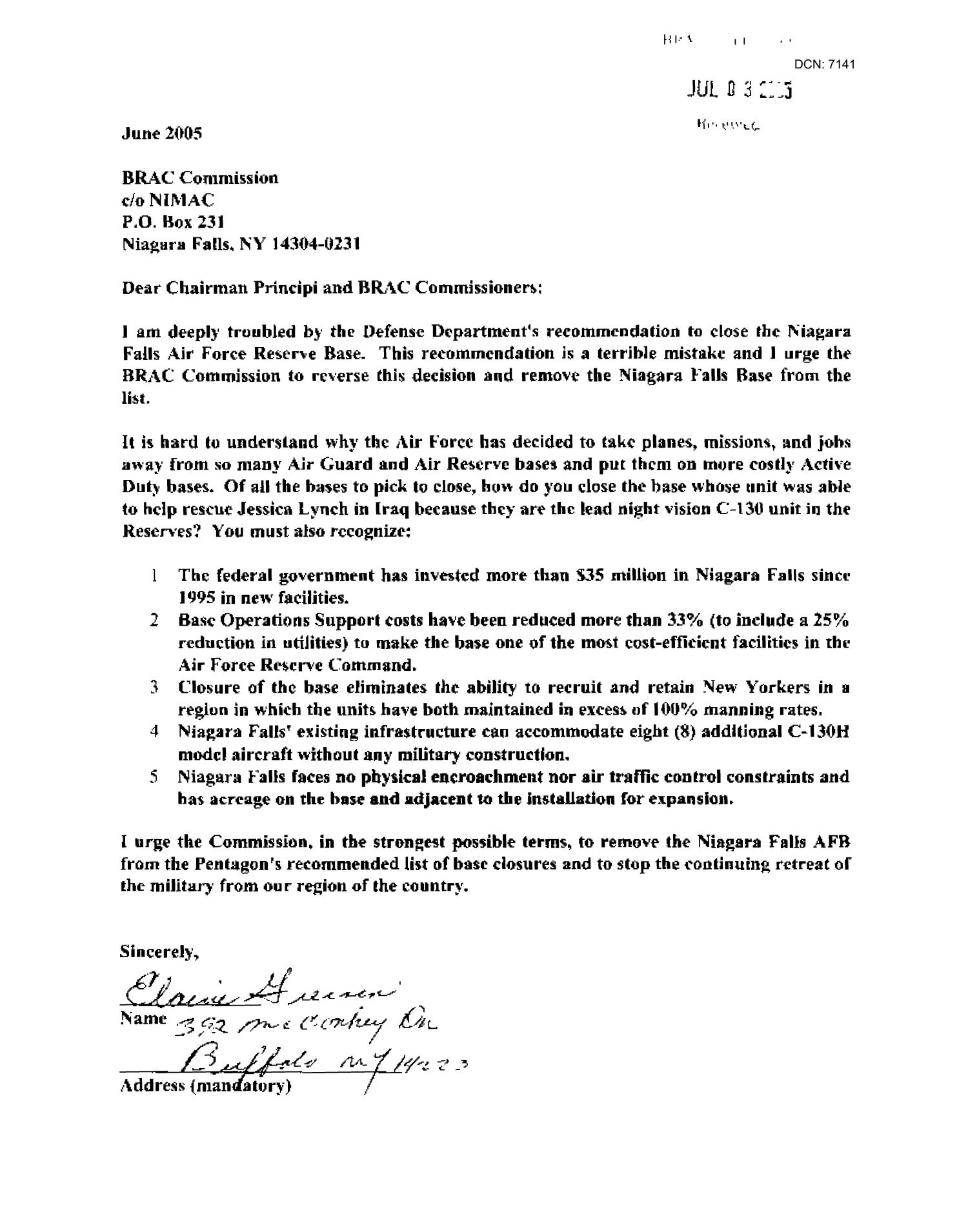 Letters from Residents Concerning Niagra Falls ANG                                                                                                      [Sequence #]: 4 of 518