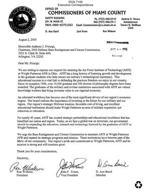 Primary view of object titled 'Executive Correspondence – Letter dtd 08/02/05 to Chairman Principi from the Office of Commissioners of Miami County Ohio'.