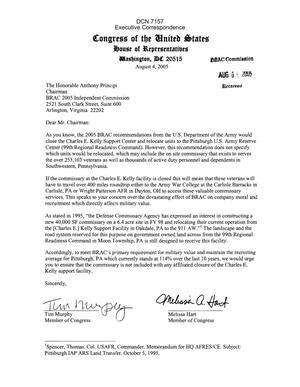 Primary view of object titled 'Executive Correspondence – Letter dtd 08/04/05 to Chairman Principi from PA Representatives Tim Murphy and Melissa Hart'.